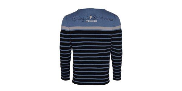 Pánsky bledo modrý pruhovaný sveter Giorgio di Mare