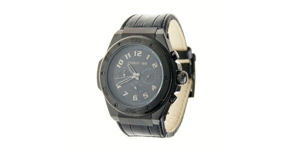 Pánske čierne oceľové hodinky Cerruti 1881 s čiernym koženým pásikom