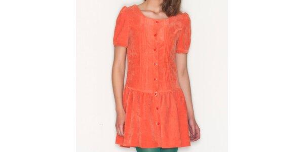 Dámske oranžové šaty s gombíkmi Pepa Loves