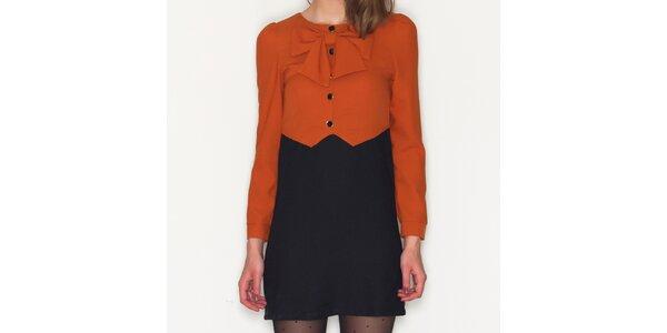 Dámske oranžovo-čierne šaty Pepa Loves