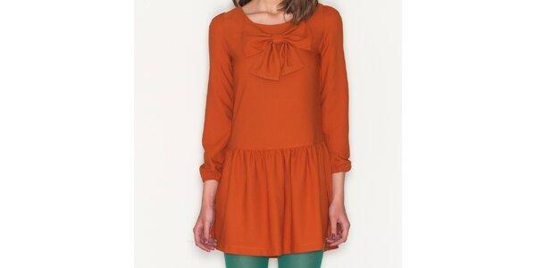 Dámske oranžové šaty s mašľou Pepa Loves