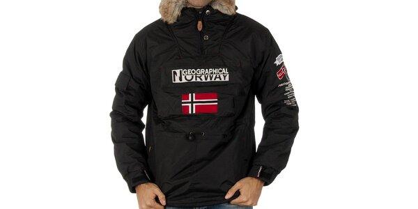 Pánska čierna bunda s nášivkami Geographical Norway