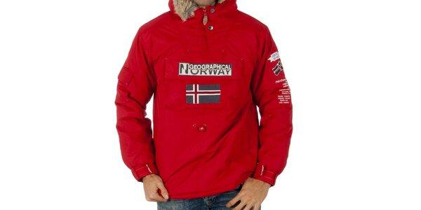 Pánska červená bunda s nášivkami Geographical Norway