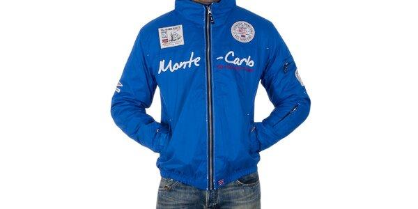 Pánska modrá bunda s nápisom Geographical Norway