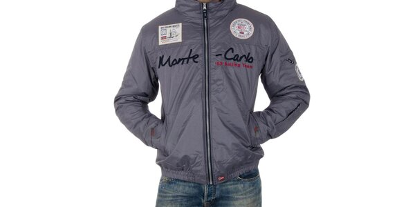 Pánska šedá bunda s nápisom Geographical Norway