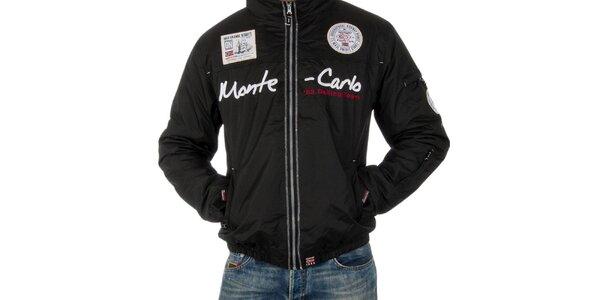 Pánska čierna bunda s nápisom Geographical Norway