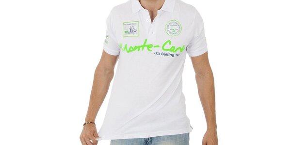Pánske biele polo tričko Geographical Norway so zeleným nápisom