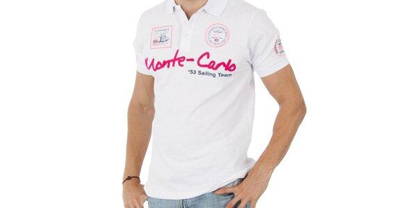 Pánske biele polo tričko Geographical Norway s nápisom