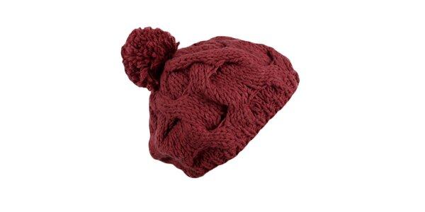 Dámska tmavo ružová pletená čiapka Timeout s brmbolcom