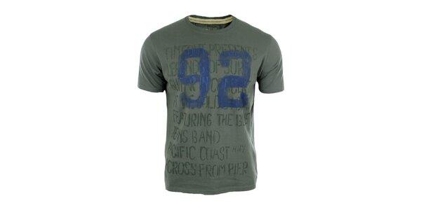 Pánske šedé tričko s modrým číslom Timeout