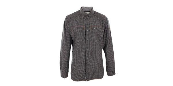 Pánska čierno-hnedo kockovaná košeľa Timeout