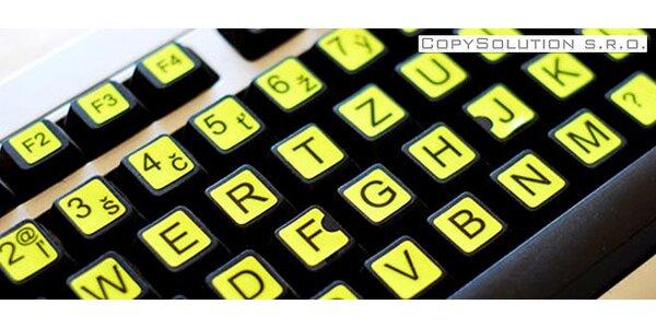 Fluorescentné nálepky na klávesnicu