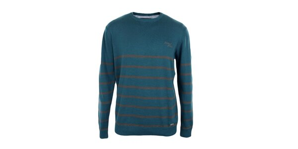 Pánsky tyrkysový sveter s pruhmi Timeout