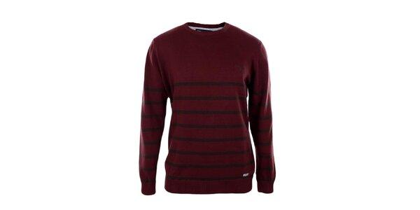 Pánsky tmavo červený sveter s prúžkami Timeout