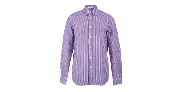 Pánska fialovo-biela prúžkovaná košeľa GAS