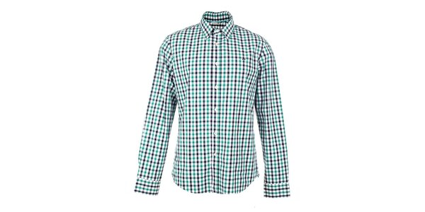 Pánska zeleno-bielo-čierno kockovaná košeľa GAS