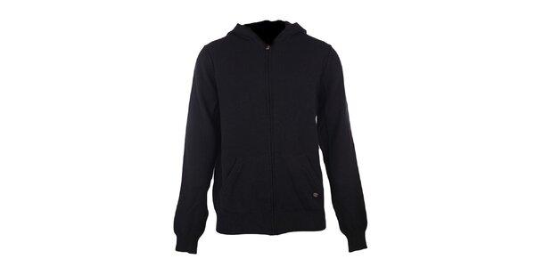 Pánsky čierny sveter s kapucňou GAS