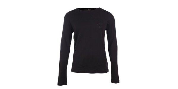 Pánske čierne tričko s dlhými rukávmi GAS