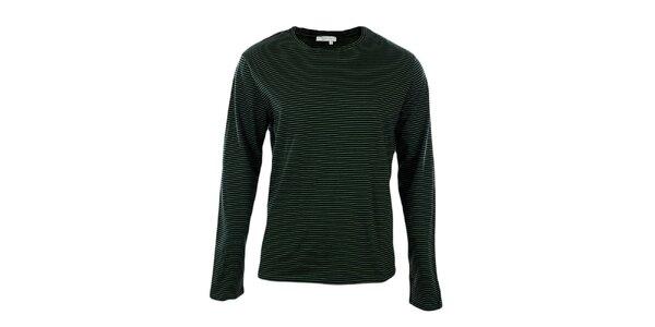 Pánske zeleno pruhované tričko s dlhým rukávom GAS