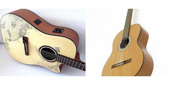 Elektroakustická gitara s ručne kreslenými motívmi alebo klasická gitara…