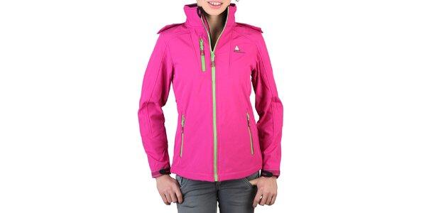 Dámska ružová bunda so zelenými zipsami Peak Mountain