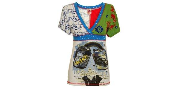 Dámske pestré tričko s plechovkami a kvetinami Dislay DY Design