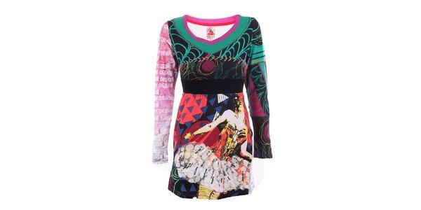 Dámske farebné šaty s čipkovou aplikáciou DY Dislay Design