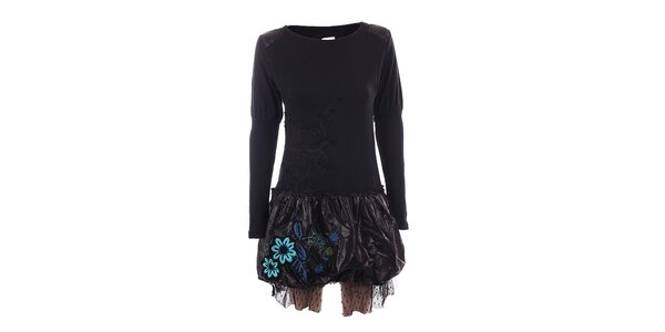 Dámske čierne šaty s lesklou sukňou DY Dislay Design
