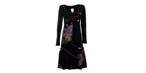 Dámske čierne šaty s farebnými plochami DY Dislay Design