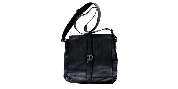 Unisex čierna kabelka cez rameno Levis s prackou