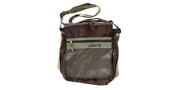 Unisex hnedá lesklá kabelka cez rameno Levis
