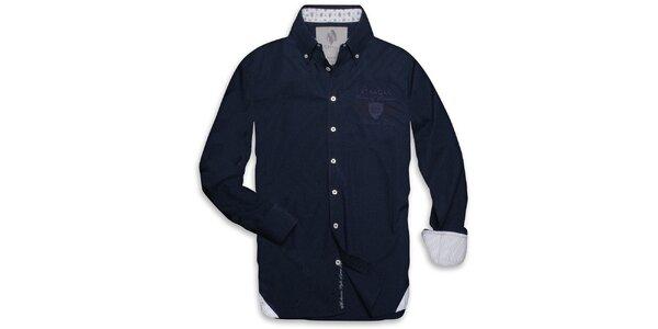 Pánska tmavo modrá košeľa s prúžkovanými vnútornými lemami Paul Stragas