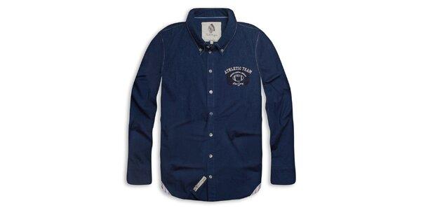 Pánska tmavo modrá košeľa s nápisom na chrbáte Paul Stragas