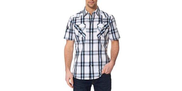 Pánska čierno-modro-biela kockovaná košeľa s krátkým rukávom Paul Stragas