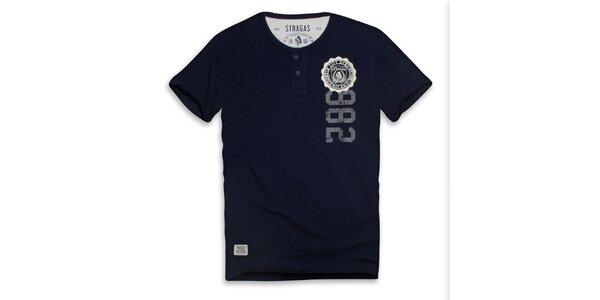 Pánske tmavo modré tričko s gombíkmi a potlačou Paul Stragas