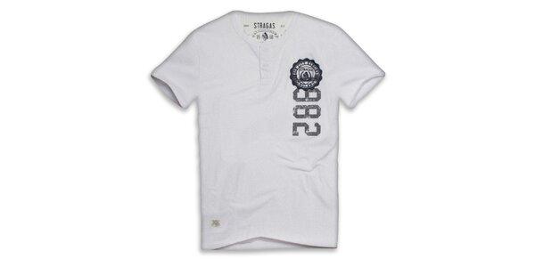 Pánske biele tričko s gombíkmi a potlačou Paul Stragas