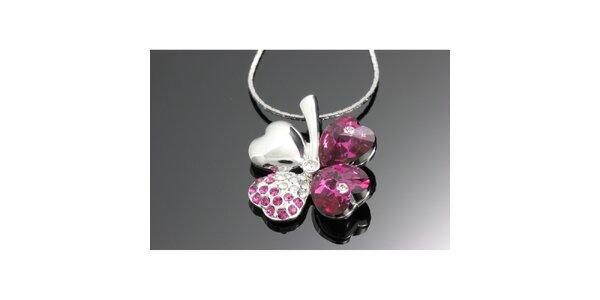 Dámsky ružový náhrdelník so štvorlístkom Swarovski