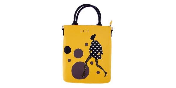 Dámska žltá taška na iPad Elle s potlačou