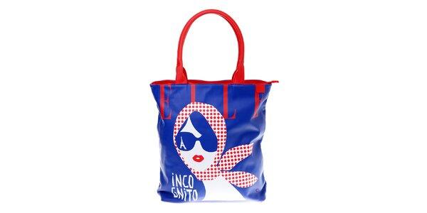 Dámska modrá taška Elle s červenými detailami