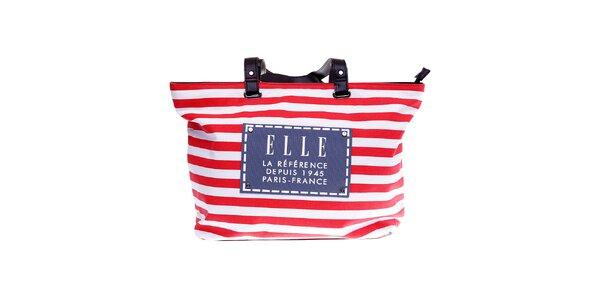 Dámska červeno-biela prúžkovaná plážová taška Elle
