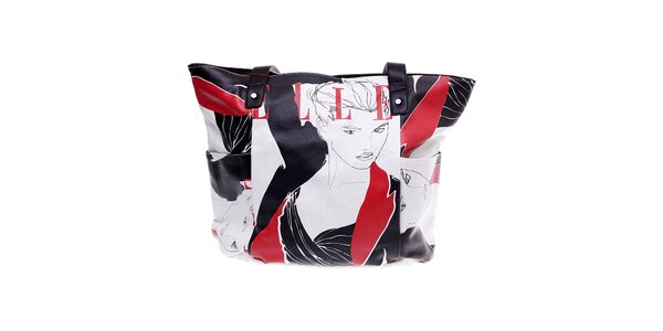 "Dámska biela kabelka Elle ""shopper"" s červenou potlačou"
