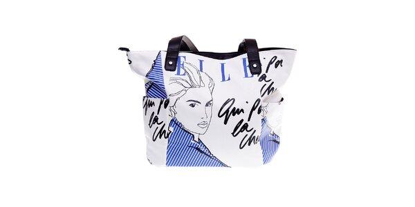 "Dámska biela kabelka Elle ""shopper"" s modrou potlačou"