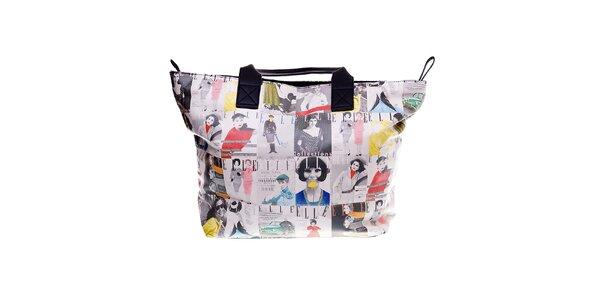 Dámska bežová plážová taška Elle s farebnou vintage potlačou