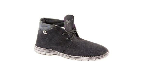 Pánske zimné šedo-modré semišové topánky Dude