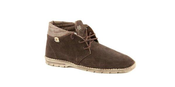 Pánske zimné kávové semišové topánky Dude