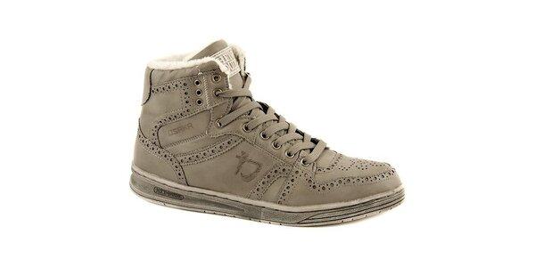 Pánske šedé kožené zimné topánky Dude