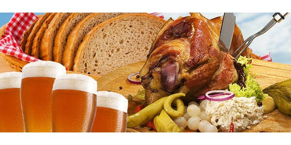 koleno alebo klobásky pre 2-4 jedákov, 4x pivo Budvar