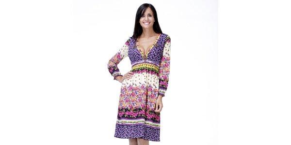 Dámske svetlé kvetinové šaty Peace&Love
