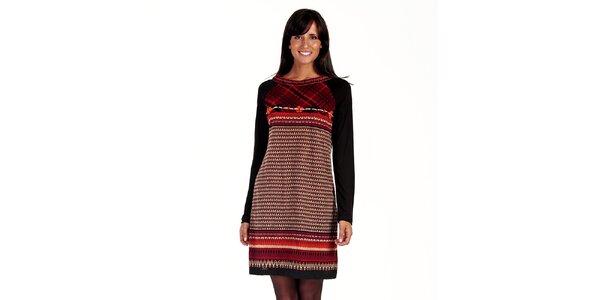 Dámske čierno-červené vzorované šaty Peace&Love