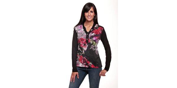 Dámske čierne tričko s potlačou ruží Peace&Love